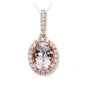 Mestergull Elegant anheng i rosè gull med morganitt og diamanter selges uten kjede MG DIAMONDS Anheng
