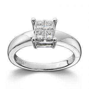 Mestergull Klassisk ring i hvitt gull med princess cut diamanter MG DIAMONDS Ring