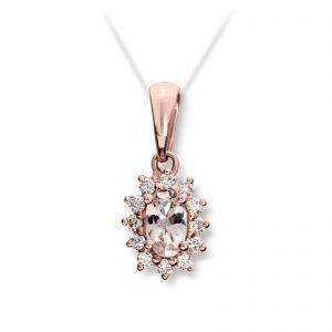 Mestergull Klassisk anheng i rosè gull med diamanter og morganitt MG DIAMONDS Anheng