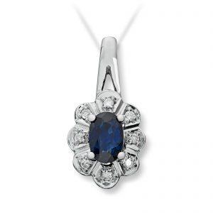 Mestergull Klassisk anheng i hvitt gull med safir og diamanter selges uten kjede MG DIAMONDS Anheng