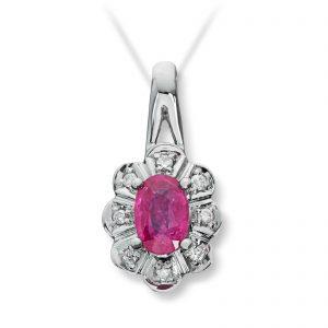 Mestergull Klassisk anheng i hvitt gull med rubin og diamanter selges uten kjede MG DIAMONDS Anheng