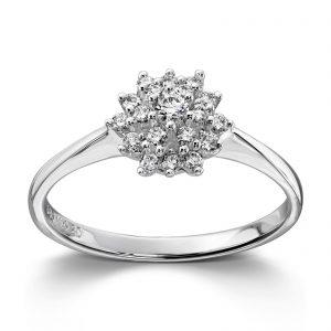 Mestergull Klassisk rosett ring i hvitt gull med diamanter MG DIAMONDS Ring