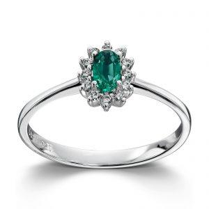 Mestergull Klassisk ring i hvitt gull med smaragd og diamanter MG DIAMONDS Ring