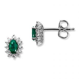 Mestergull Klassisk ørepynt i hvitt gull med smaragd og diamanter MG DIAMONDS Ørepynt