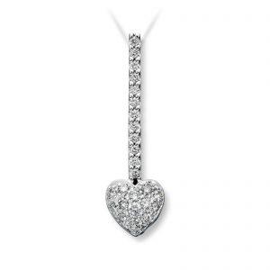 Mestergull Elegant hjerteanheng i hvitt gull med 25 diamanter MG DIAMONDS Anheng