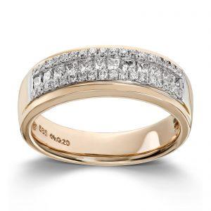 Mestergull Lekker ring i gult gull med en kombinasjon av prinsesseslipte og brilliantslipte diamanter MG DIAMONDS Ring