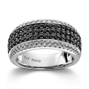 Mestergull Vakker ring i hvitt gull med diamanter og sorte safir MG DIAMONDS Ring