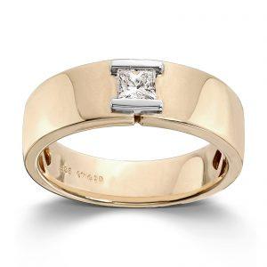 Mestergull Tøff herrering i gult og hvitt gull med princess cut diamant MG DIAMONDS Ring