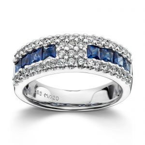 Mestergull Vakker ring i hvitt gull med diamanter og safir MG DIAMONDS Ring