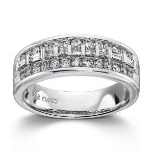 Mestergull Vakker ring i hvitt gull med diamanter, princess cut og baguetter MG DIAMONDS Ring