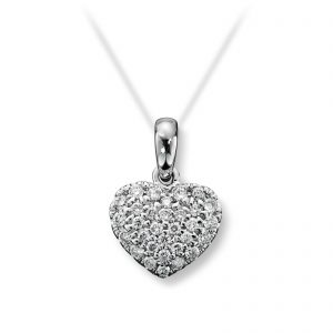 Mestergull Tidløst hjerteanheng i hvitt gull med diamanter MG DIAMONDS Anheng