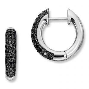 Mestergull Stilrene øreringer i hvitt gull med sorte diamanter MG DIAMONDS Ørepynt