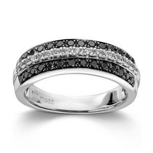 Mestergull Tøff ring i hvitt gull med sorte og hvite diamanter MG DIAMONDS Ring