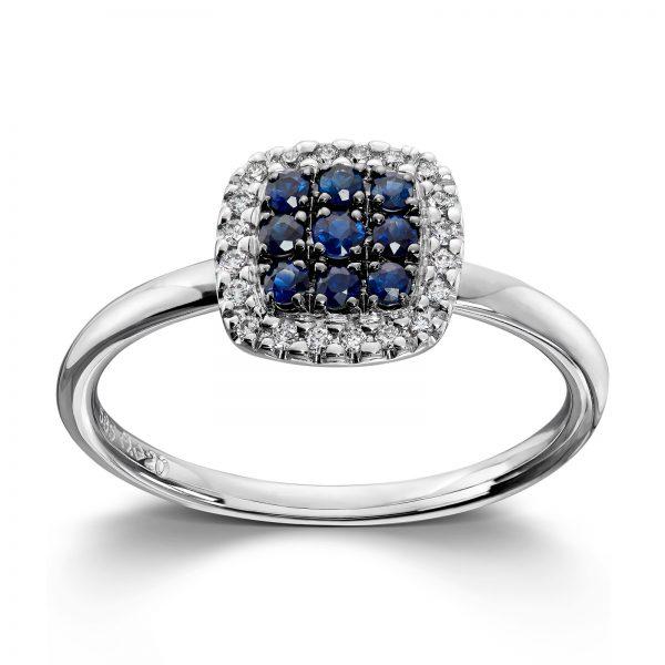 Mestergull Vakker ring i hvitt gull med diamanter og safir MG DIAMONDS Ring