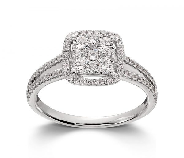 Mestergull Lekkert ring i hvitt gull med diamanter MG DIAMONDS Ring