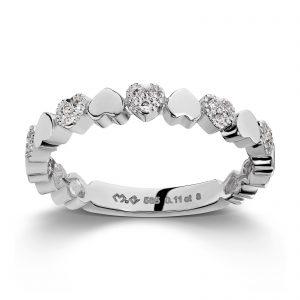 Mestergull Flott hjertering i hvitt gull med diamanter MG DIAMONDS Ring