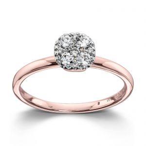 Mestergull Flott ring i rosè gull med diamanter MG DIAMONDS Ring