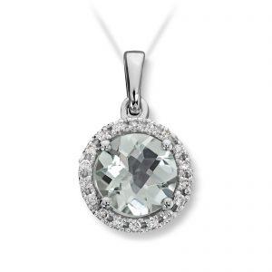 Mestergull Lekkert anheng i hvitt gull med prasiolitt og diamanter selges uten kjede MG DIAMONDS Anheng
