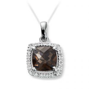Mestergull Lekkert anheng i hvitt gull med diamanter og røkkvarts selges uten kjede MG DIAMONDS Anheng