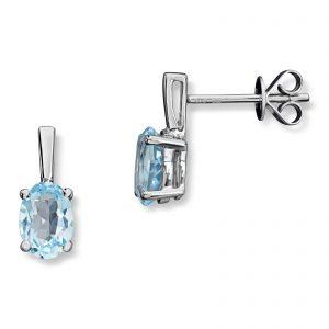 Mestergull Flott ørepynt i hvitt gull med diamanter og blå topas MESTERGULL Ørepynt