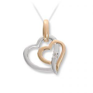 Mestergull Lekkert hjerteanheng i gult gull med diamanter MESTERGULL Anheng