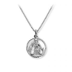 Mestergull Stjernetegn anheng i rhodinert sølv, Vannmannen MG BASIC Tegn/Bokstav Anheng