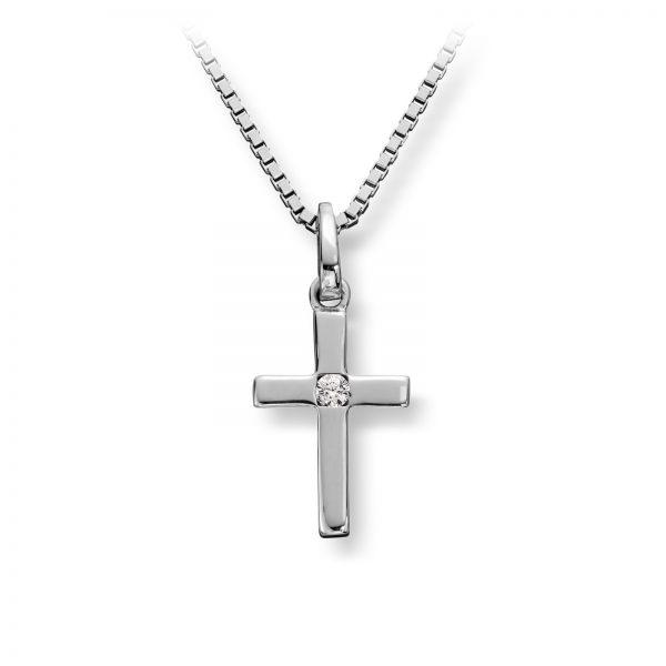 Mestergull Enkelt anheng kors i rhodinert sølv med cubic zirkonia MG BASIC Anheng