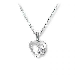 Mestergull Fint hjerte anheng i sølv med cubic zirkonia MG BASIC Anheng