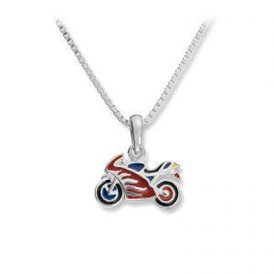 Mestergull Tøft anheng motorsykkel i sølv med rød lakk MG BASIC Anheng