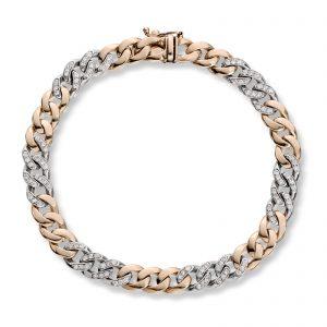 Mestergull Lekkert armbånd i gult og hvitt gull med diamanter MG DIAMONDS Armbånd