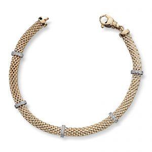 Mestergull Flott armbånd i gult og hvitt gull med diamanter MG DIAMONDS Armbånd