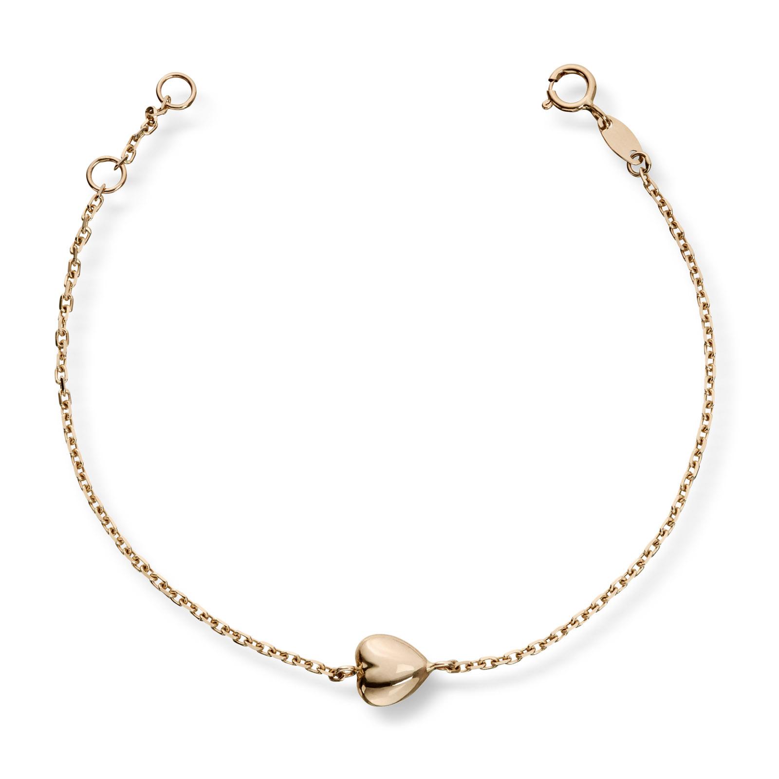 Mestergull Søtt armbånd i gult gull med hjerte MG BASIC Armbånd