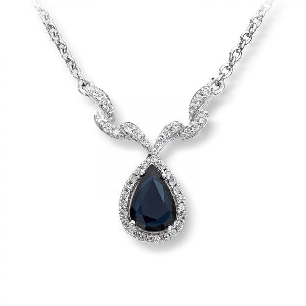Mestergull Klassisk kjede i hvitt gull med safir og diamanter MG DIAMONDS Kjede