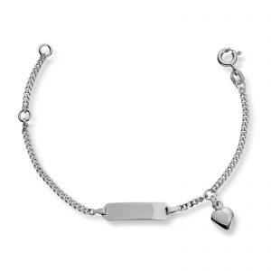 Mestergull Barnearmbånd i sølv med hjerte og I-plate MG BASIC Armbånd