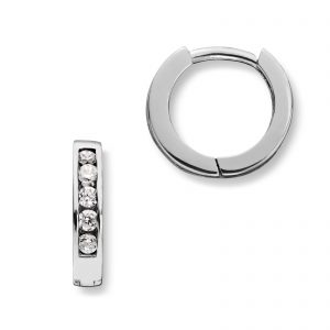 Mestergull Enkle øreringer i rhodinert sølv med cubic zirkonia MG BASIC Ørepynt