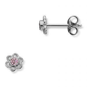 Mestergull Søt ørepynt i rhodinert sølv med rosa cubic zirkonia MG BASIC Ørepynt