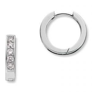 Mestergull Trendy øreringer i rhodinert sølv med cubic zirkonia MG BASIC Ørepynt
