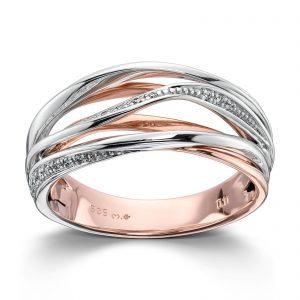 Mestergull Fin ring i tofarget gull med diamanter MG DIAMONDS Ring