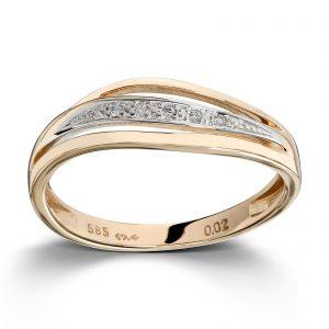 Mestergull Fin ring i gult gull med diamanter MG DIAMONDS Ring