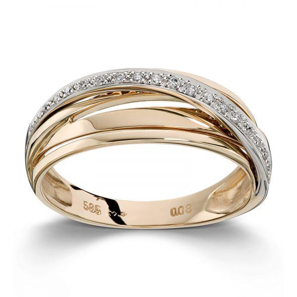 Mestergull Elegant ring i gult og hvitt gull med diamanter MG DIAMONDS Ring