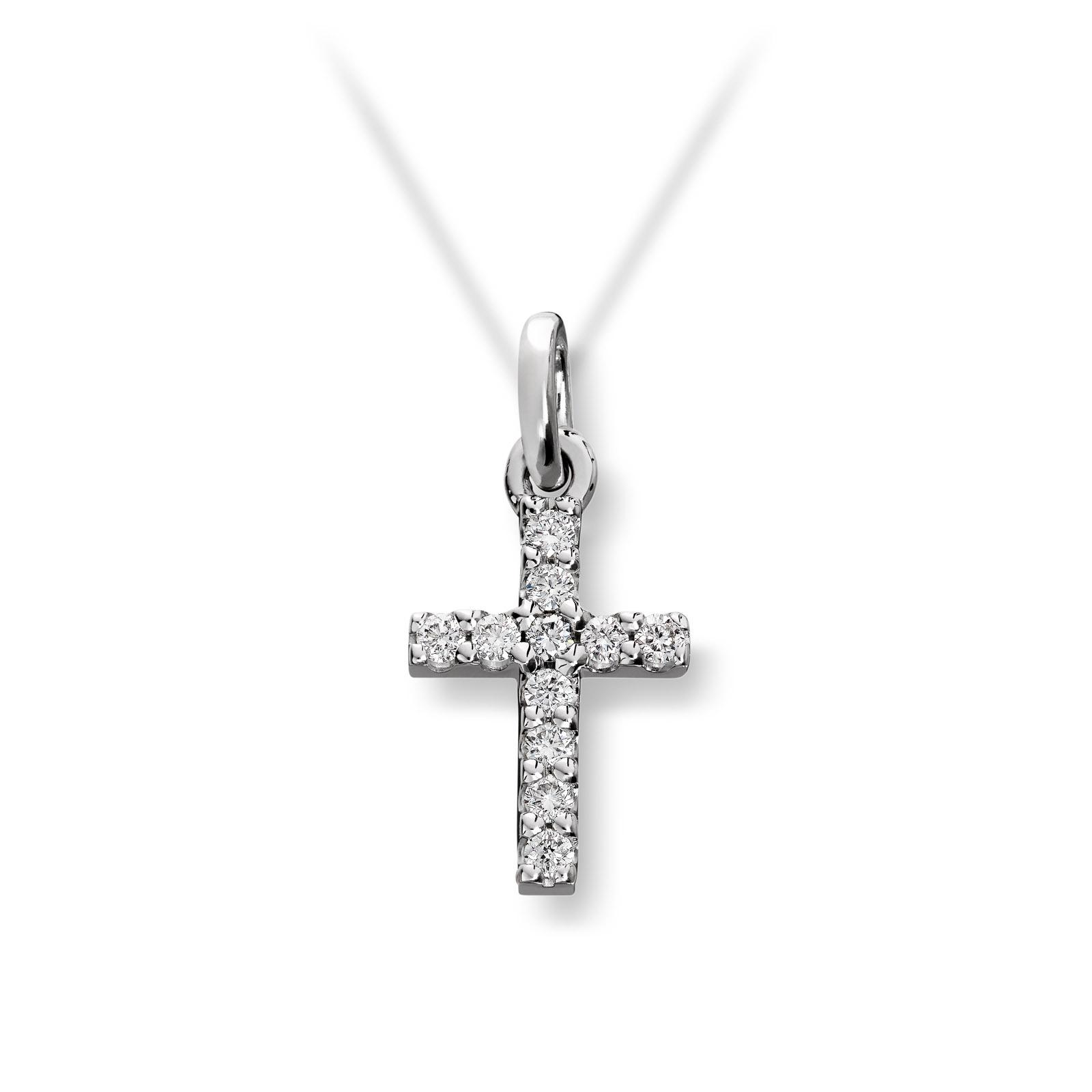 Mestergull Fint anheng kors i hvitt gull med diamanter MG DIAMONDS Anheng