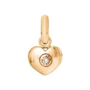 Mestergull Charm Heart Sweet Drops i gult gull og rosé gull med en diamant LYNGGAARD Sweet Drops Charm