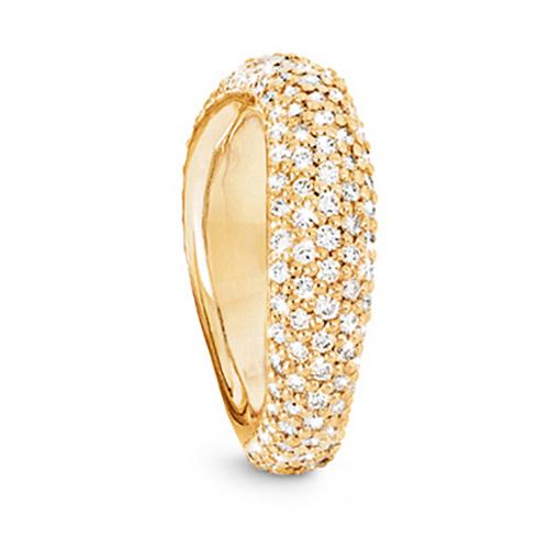 Mestergull Love Ring nr. 5 i 18 K Gult gull Pavé med 159 diamanter. Totalt 1,75 ct TwVs blank overflate LYNGGAARD Love Ring