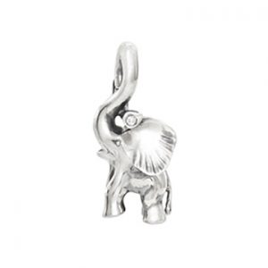 Mestergull Sweet Drops charm elefant i sølv med diamant 0,005 ct TwVs LYNGGAARD Sweet Drops Charm