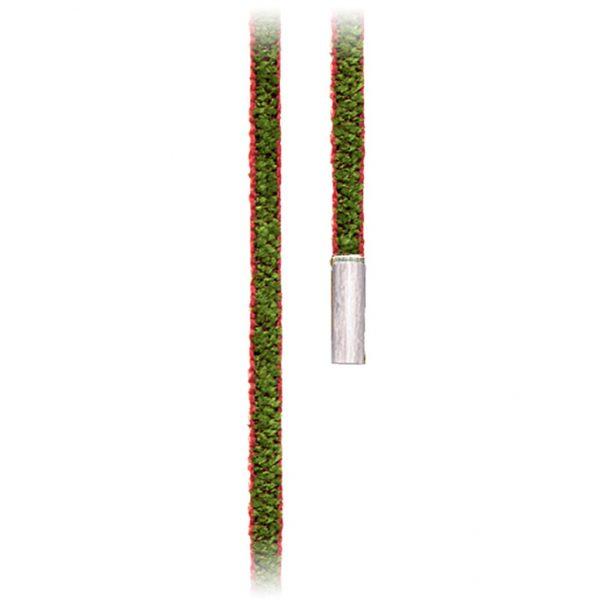 Mestergull Design snor grønn/vinrød med endestykker i 18 K Hvitt gull LYNGGAARD Kjede