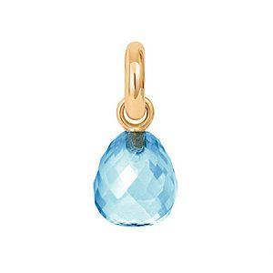 Mestergull Charm Sweet Drops i 18 K Gult gull sølv med fasettert blå topaz LYNGGAARD Sweet Drops Charm
