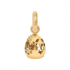 Mestergull Charm Sweet Drops Lace i 18 K Gult gull med3 diamanter totalt 0,035 ct. TwVs blank overflate LYNGGAARD Sweet Drops Charm