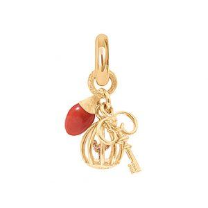 Mestergull Charm Sweet Drops Key To Freedom i 18 K Gult gull Nøkkel, fuglebur og rød korall LYNGGAARD Sweet Drops Charm