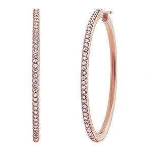 Mestergull Love Band Creol øreringer i 18 K Rosé gull med 160 diamanter totalt 1,60 ct. TwVs Ø:38mm LYNGGAARD Love Ørepynt