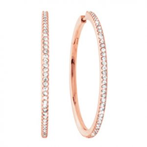 Mestergull Love Band Creoler i 18 K Rosé gull med 82 diamanter totalt 0,82 ct TwVs LYNGGAARD Love Ørepynt